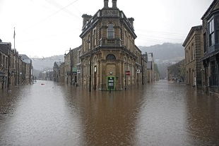 Heavy rain left the centre of Hebden Bridge in West Yorkshire badly flooded
