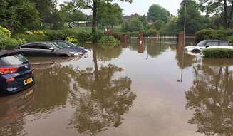 Severe flooding in Solihull in 2018. Now the council is distributing FloodSax to help those in danger of future flooding.