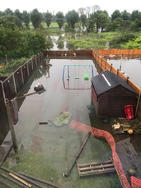 Jodie Ellis' badly flooded back garden in Nottingham