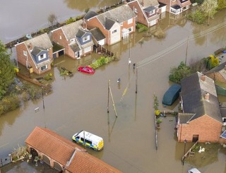 Terrible flooding in the village of Fishlake near Doncaster