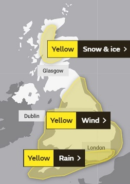 This Met Office weather warning graphic shows how bad weather covers most of the UK on Tuesday, January 14, 2020