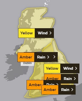 The Met Office severe weather warnings for Storm Dennis